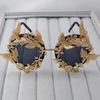 Super Luxury Baroque Sunglasses Women Metal Flower Vintage Eyewear Brand Design Sun Glasses Outdoors Casual Fashion