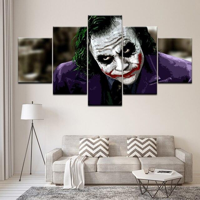Canvas Vẽ Tranh Batman Joker miễn phí vận chuyển 5 Miếng Tường Nghệ Thuật Vẽ Tranh Modular Hình Nền Poster In cho phòng khách Trang Trí Nội Thất