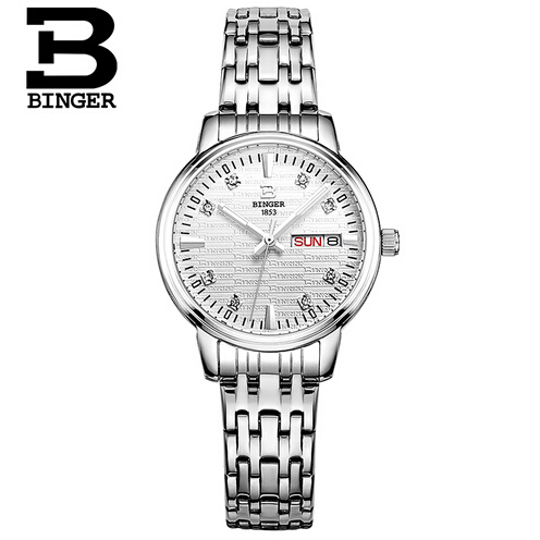 Switzerland Binger Lady Women Quartz Wristwatch Watch Crystal Rhinestone Stainless Steel Band Bracelet Bangle Round Dial Silver xinhua 681 bracelet style quartz watch with rhinestone dial stainless steel band for women