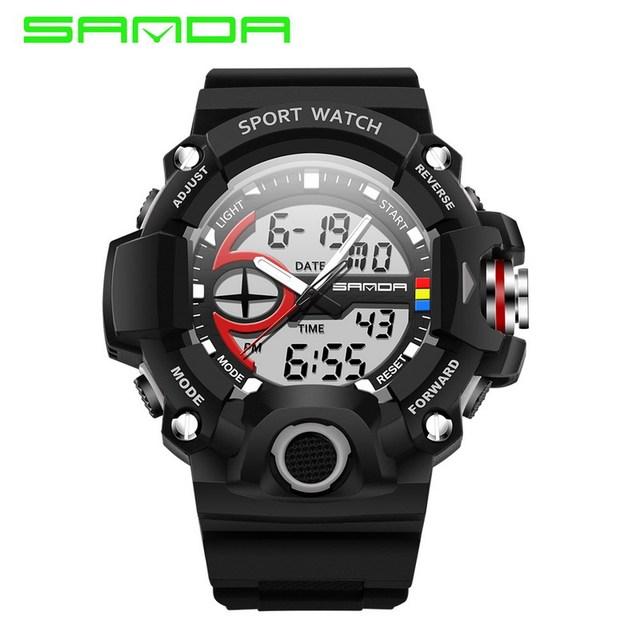 New sanda homens de luxo da marca de natação à prova de choque relógio esportivo militar led relógios dos homens relógio analógico digital à prova d' água relogio
