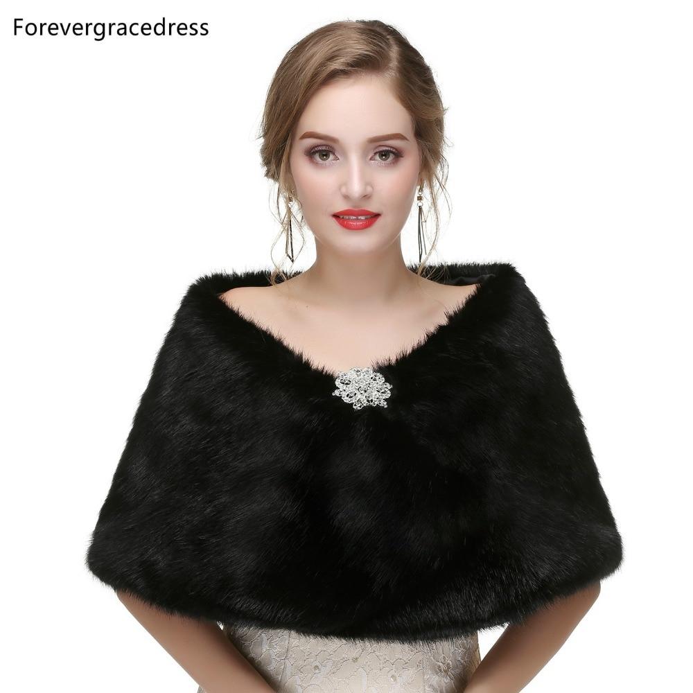 Forevergracedress 2019 Elegant Soft Autumn Winter Faux Fur Bride Wedding Wraps Bolero Jackets Bridal Coats Shawls Scarves PJ456