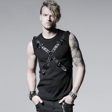 Punk Rib Vest with Ether Belt for Men Steam Punk Men's Sleeveless Cool Tank Tops Summer Casual T-Shirt Black Coffee