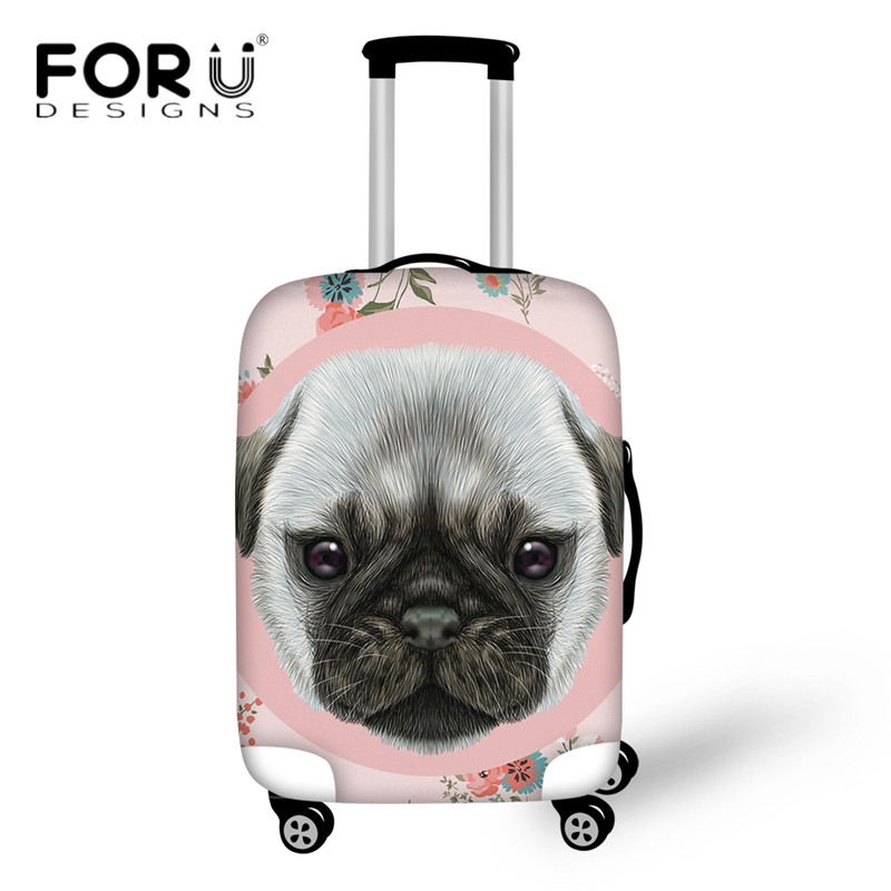 FORUDESIGNS Travel Accessories Suitcase Cover 3D Pug Dog/Schnauzer Puppy Luggage Protective Covers For 18-30 Inch Trolley Case