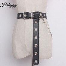 HATCYGGO Detachable Waist Belt Chain Punk Hip-hop Trendy Women Belts Ladies Fashion Cowboy Steel Pin Buckle Waistband Jeans