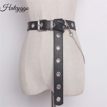 HATCYGGO Detachable Waist Belt Chain Punk Hip-hop Trendy Women Belts Ladies Fashion Cowboy Belt Steel Pin Buckle Waistband Jeans(China)