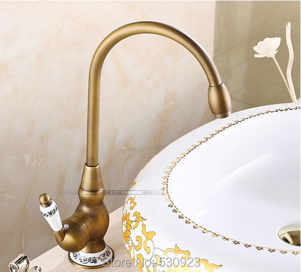 New Style Antique Brass Euro Retro Style Bathroom Basin Sink Faucet Single Ceramics Handle Vessel Tap Mixer Tap Deck mounted modern style golden color bathroom sink faucet single handle mixer tap solid brass deck mounted