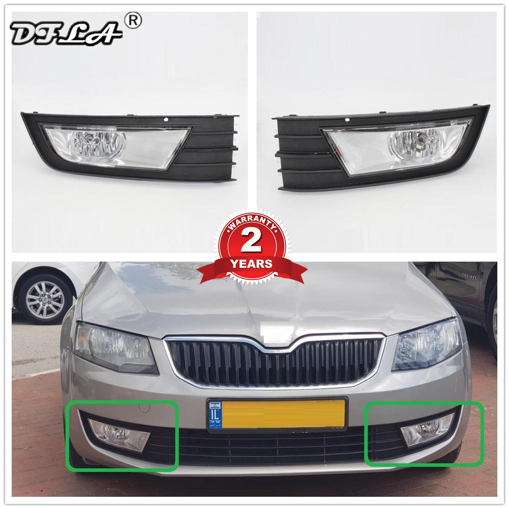 For Skoda Octavia A7 2013 2014 2015 2016 2017 Car-styling Front Halogen Fog Lamp Fog Light And Grille Cover image