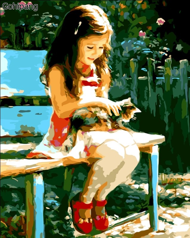 Cute Girl And Cat DIY Painting By Numbers Modern Wall Art Home Decor Hand Painted Oil Paint On Linens Christmas Gift