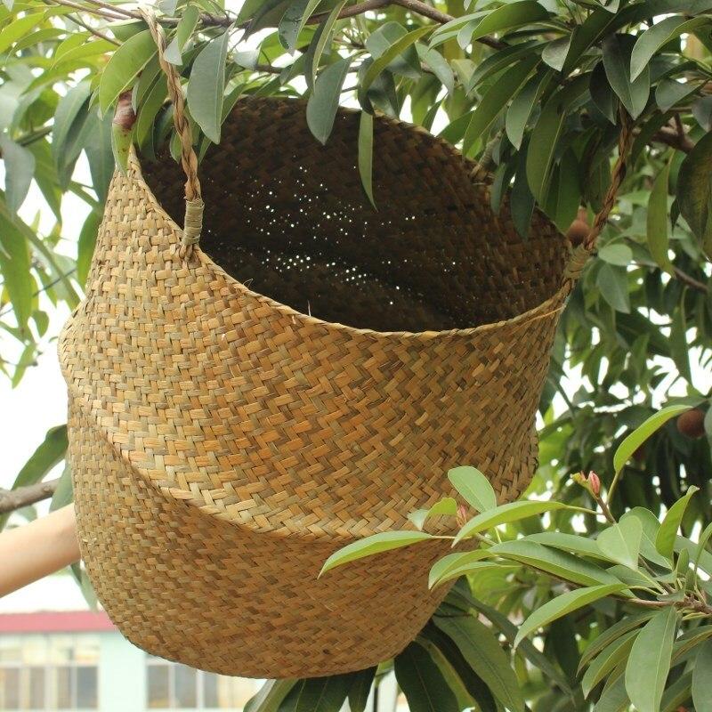 cesta de paja plegable maceta balcn colgando florero cestas cestas de canasta de en