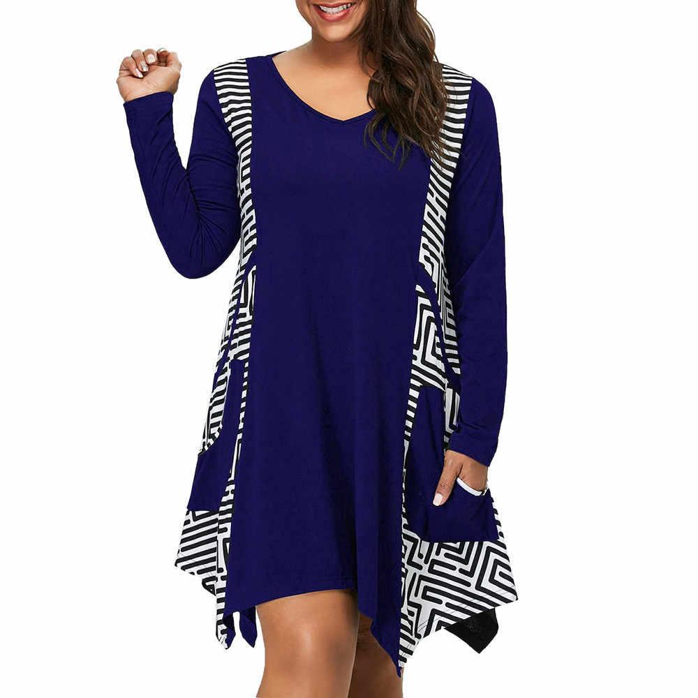 Vestido feminino roupas 2019 plus size com decote em v manga comprida irregular hem assimétrico mini vestido bolsos feminina
