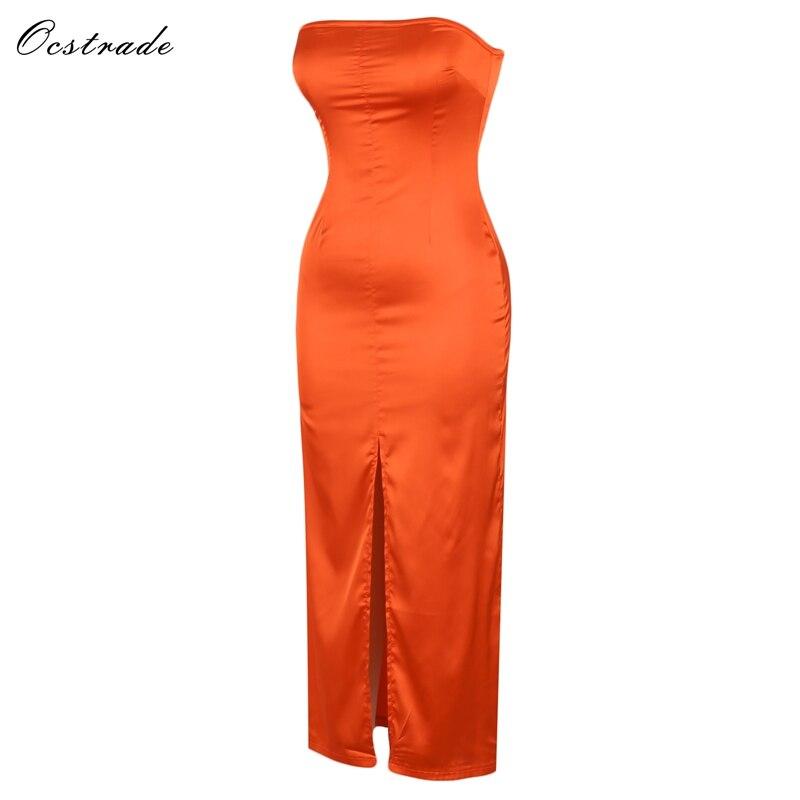 orange Alta Rosso Vestito Socchiusi Ocstrade Aderente Senza Maniche Spalline Sera Da Hi963 Maxi H7qqXfxw