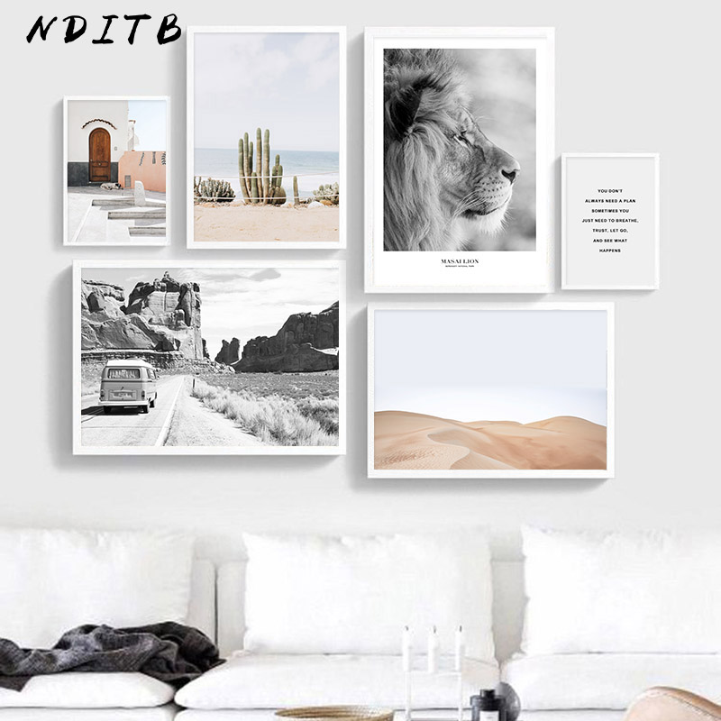 Landscape Scandinavian Poster Nordic Desert Bus Nature Wall Art Canvas Print Painting Decoration Picture Modern Home Decoration