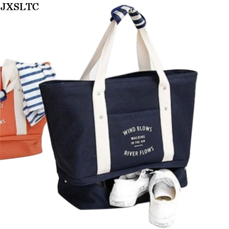 Best Selling New Canvas Travel Bag Shoulder Bag Organizer Lady Tie Single Letter Canvas Multi-purpose Travel Storage Sports Bag