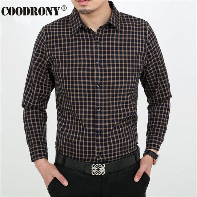 347058ced3f5 HS Fashion Plaid Shirt Men Long Sleeve Mens Dress Shirts Brand Clothing  Cotton Chemise Homme Marque