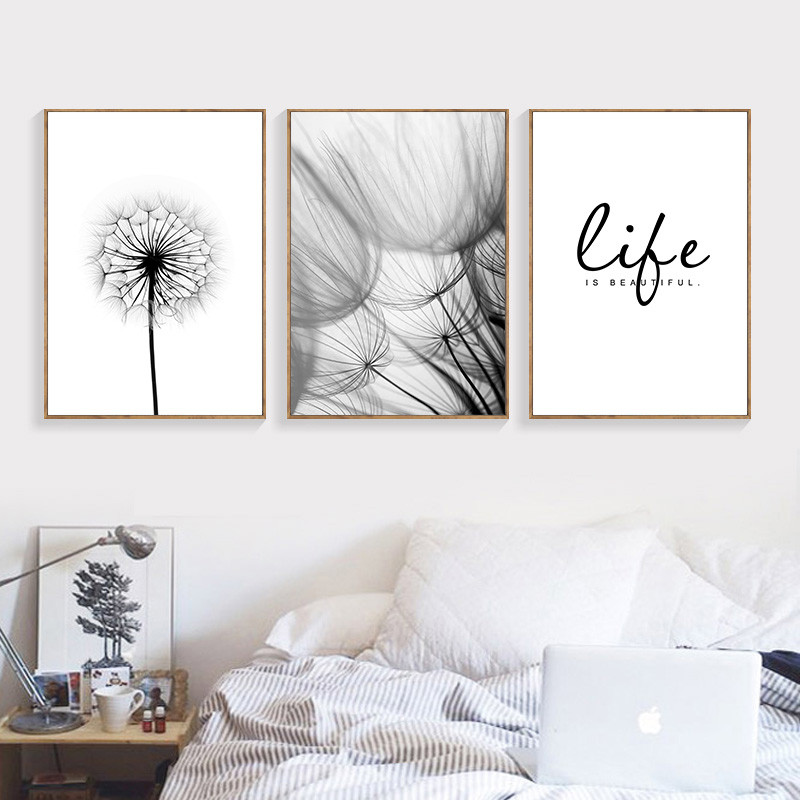 Nordic-Dandelion-Art-Canvas-Painting-Posters-And-Prints-Black-White-Loves-Life-Quotes-Wall-Pictures-For (2)