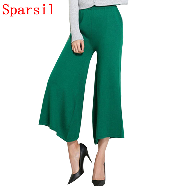 Sparsil Women's Spring&Autumn Cashmere Blended Flare Pant Fashion Female Solid Color Knitted Ankle-Length Pants