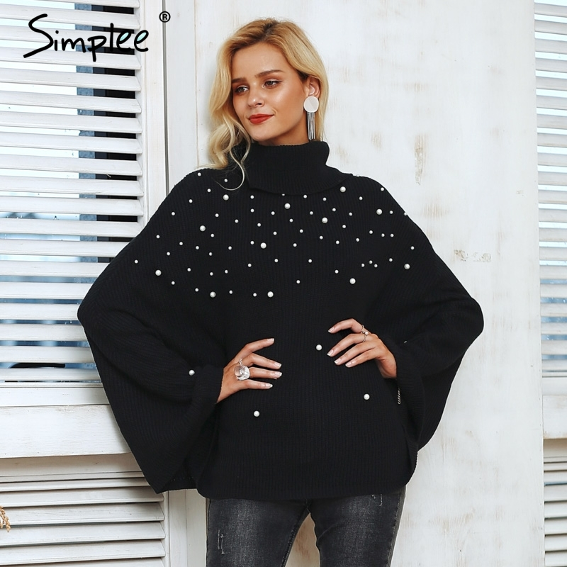 Simplee Plus size turtleneck beading knitted cloak sweater women casual pullover female Streetwear autumn 2018 plus size jumpers