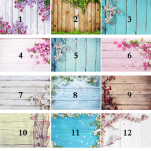 5x3ft Photography Backdrops Flower Wood Floor Newborn Photo Backgrounds for Photographers Vinyl Cloth Baby Shower Backdrop 706