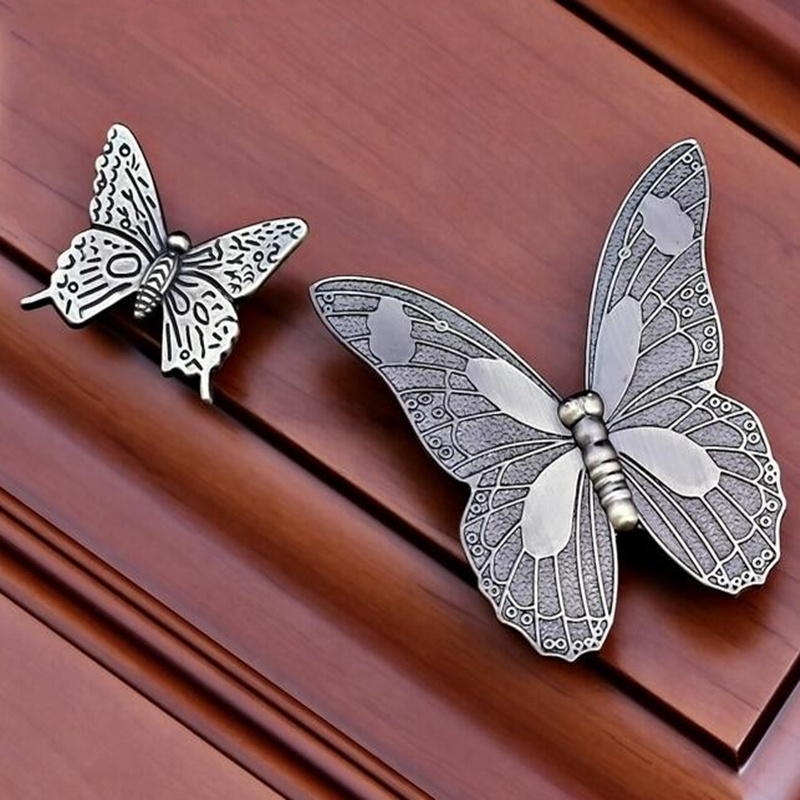High Quality Antique European Style Butterfly Cabinet Handle Knobs Kitchen Furniture Drawer Pull Handles Accessory Knob