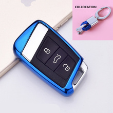 2019 Soft TPU Key Cover Case For Skoda Superb A7 For Volkwagen Passat B8 VW Golf Gte Car Shell Styling Key Protection Keychain