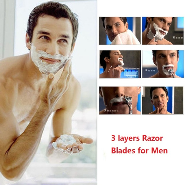 8pcs/lot High quality Razor Blades for Men 3 layers Shaving Razor Blade Standard for US&RU&Euro