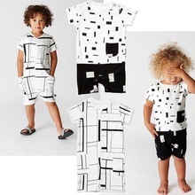 Summer Style Cotton Baby Clothes Cute Infant Baby Rompers Short Sleeve Baby Jumpsuits Geometric Pattern Printed Baby Boy Costume