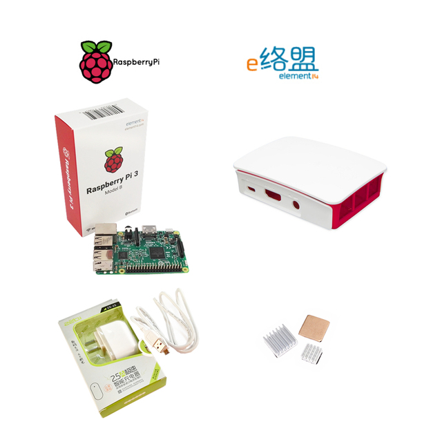 Оригинальный element14 Raspberry Pi 3 Модель B посылка включают Raspberry Pi + чехол + адаптер питания + heak раковина