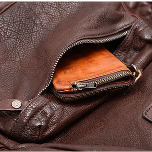 Image 4 - AETOO Cowhide mens doubles shoulder bag retro trendy head layer leather backpack