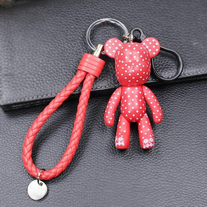 Брелок Bomgom с мультяшным медведем, милый брелок кожаный шнур, автомобильный держатель для ключей, сумка, держатель с подвеской, брелок из смолы, Fo-K048-d