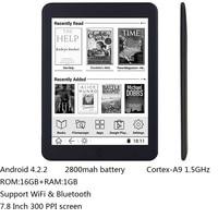 16 Гб электронная книга 7,8 дюймов сенсорный HD экран E book reader Cortex A9 android WiFi читалка Bluetooth аудио E ink 2800 мАч батарея
