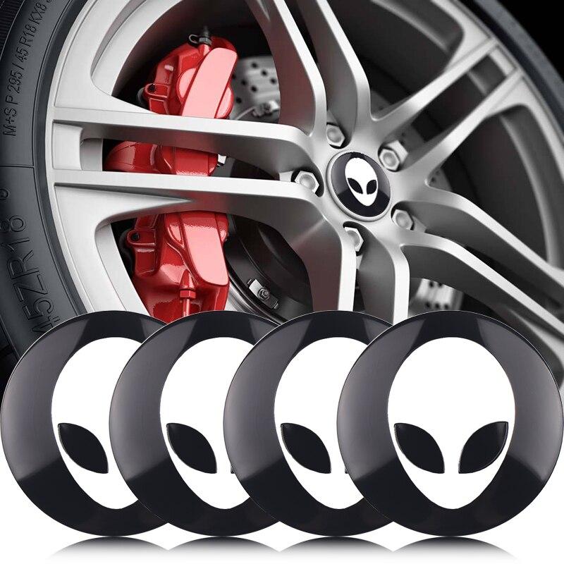 4 шт. металлические Alienware инопланетяне наклейки на колеса автомобиля наклейки 2018 новые инопланетяне личность 3D логотип декоративные наклей...