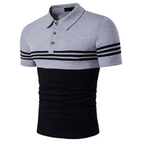 Europe Style Tee Shirt Homme 2017 Summer New Striped Men T Shirt Turn Down Collar Slim