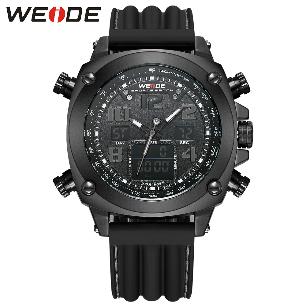 WEIDE Men Watches Full Steel Mens Quartz Hour Clock Repeater Waterproof Black Large Dial Sports Military Wrist Watch Male Gift