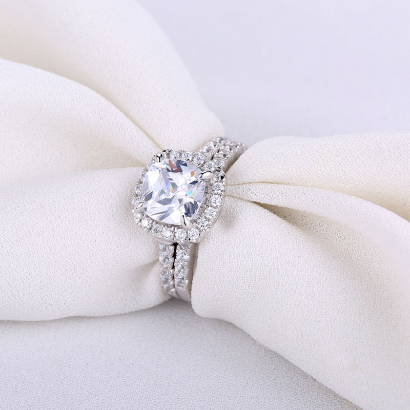 Solid 925 Sterling Silver Wedding Ring Set with 2.2 Ct Square Cushion Cut AAA CZ