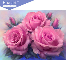 Diamond painting, diamond embroidery, flowers, pink roses, cross stitch diamond paste, crafts, gifts, home decoration, mosaic,