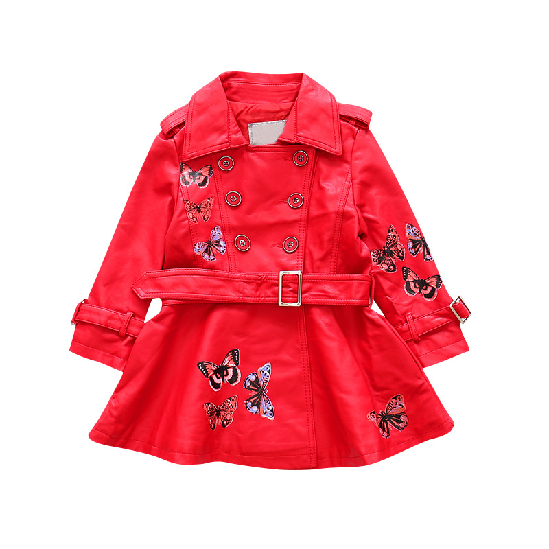 Kids Double Breasted Faux Leather Trench Coat Children Motorcycle Jacket Girls Casual School Long Coat for 4-12T AA11812 korean style turndown collar solid color double breasted long sleeves polyester trench coat for men