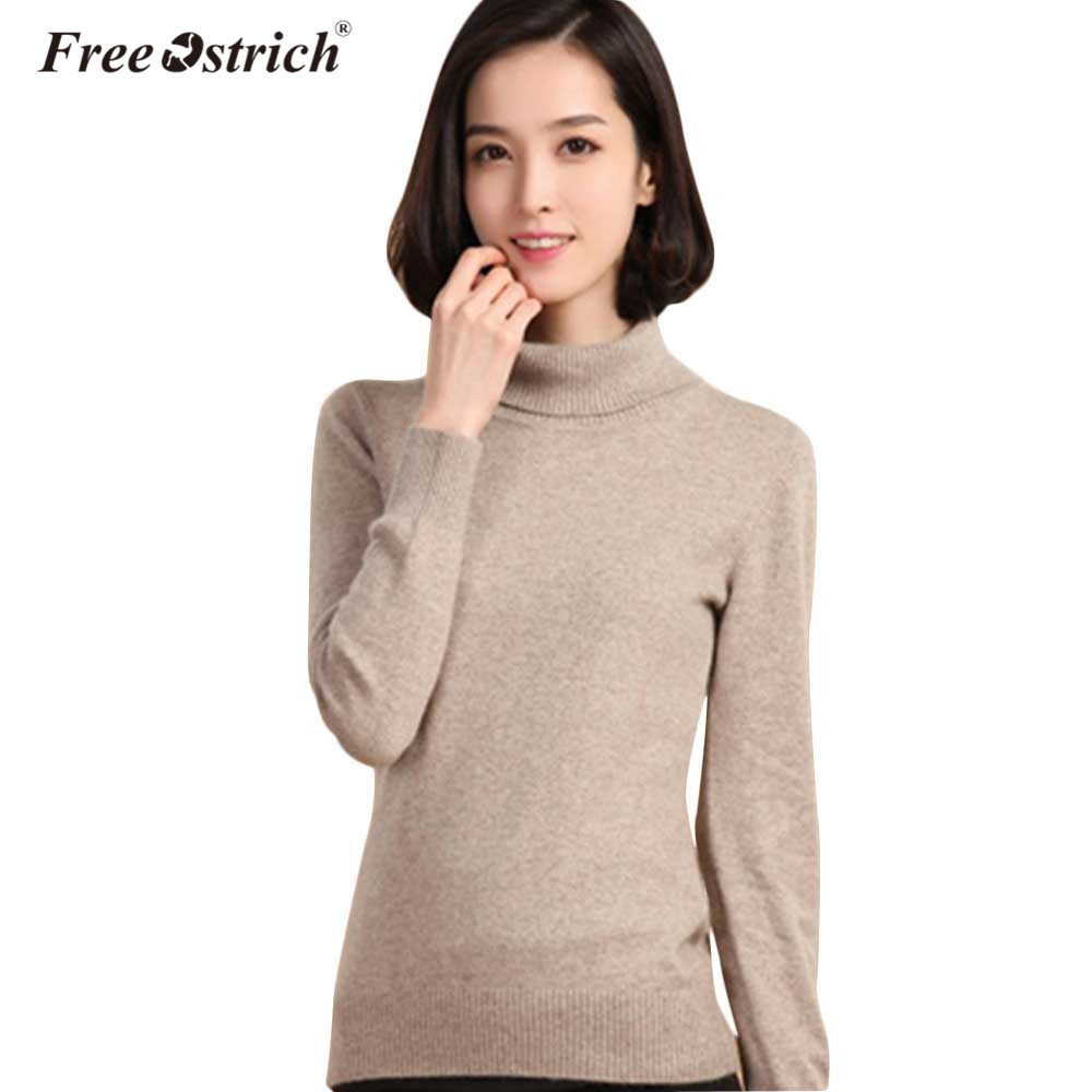 Free Ostrich Autumn Winter Cashmere Sweater Female Pullover Collar Turtleneck Sweater Women Solid Lady Basic Sweater Oct1830