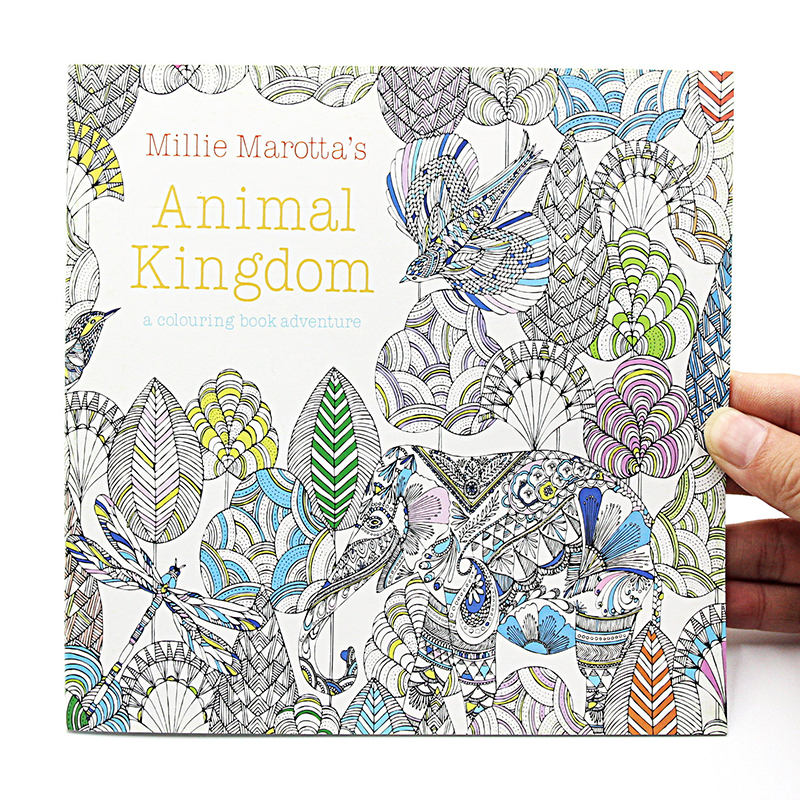 1PCS New 24 Pages Animal Kingdom English Edition Coloring For Children Adult Relieve Stress Kill Time Painting Drawing Book