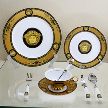 European Court Figure King Oil Painting Dinner Set Online Painting in Gold Bone China Dinnerware Set Tableware Set Free Shipping