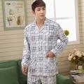 El envío Libre 2016 Hombres Del Otoño Del Resorte Conjuntos de Pijamas de Algodón Masculina a cuadros Ropa de Dormir Homewear Conjunto Completo de Algodón de Manga Larga de Alta Calidad