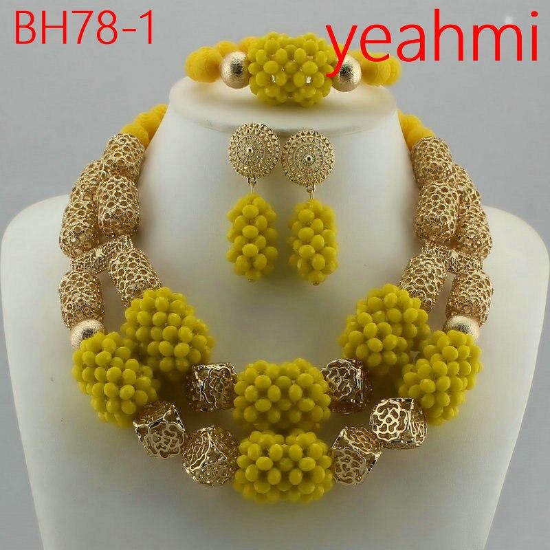 Incroyable perles africaines ensemble de bijoux chaîne femmes nigérian mariage cristal multi couche collier/boucle d'oreille indien bijoux ensembles BH78-2