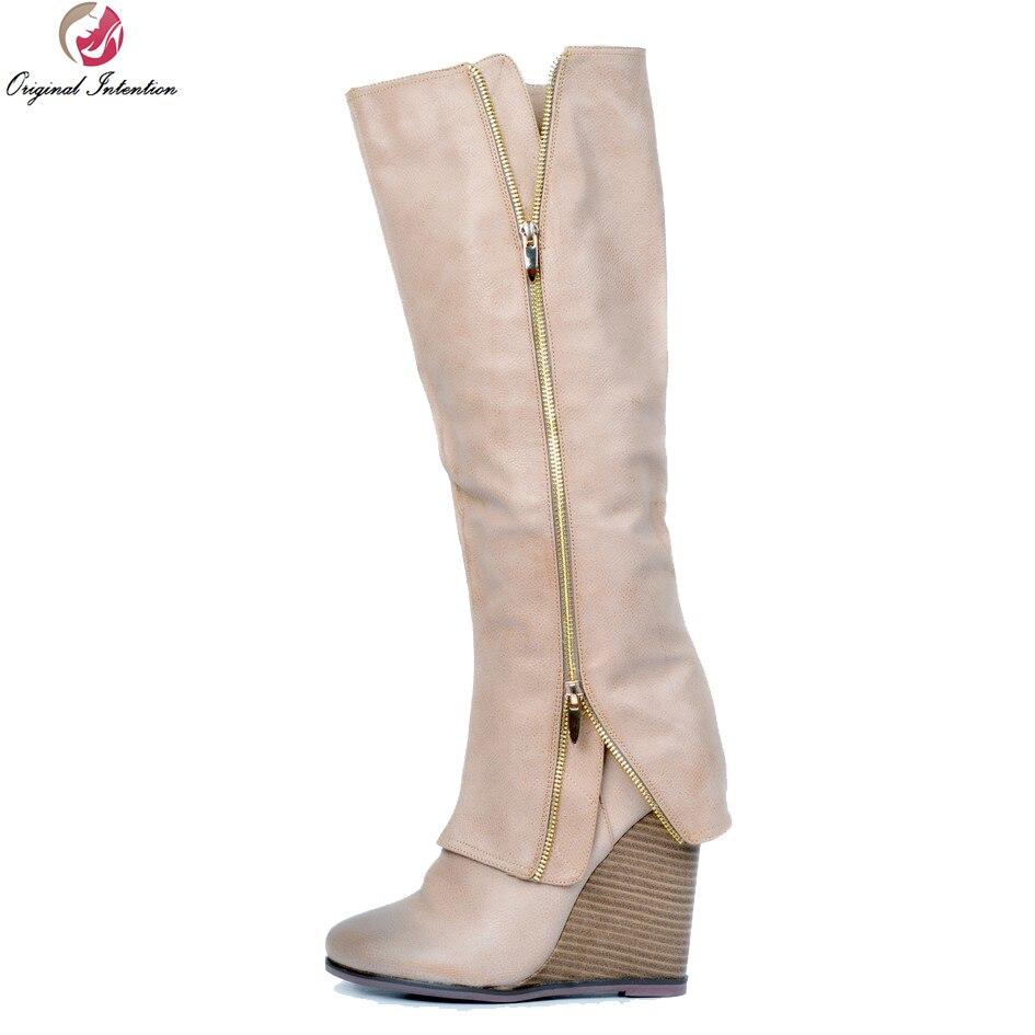 Original Intention New Design Women Knee High Boots Round Toe Wedges Heels Boots Elegant Shoes Woman Plus US Size 4-15 стоимость