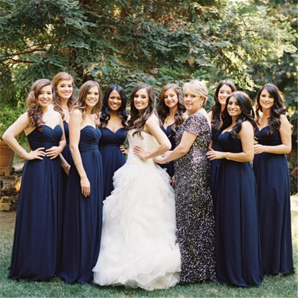 Navy Blue Chiffon Long   Bridesmaid     Dresses   Simple A Line Floor Length Pleat Cheap Wedding Party Gown 2019 Hot Selling Women   Dress