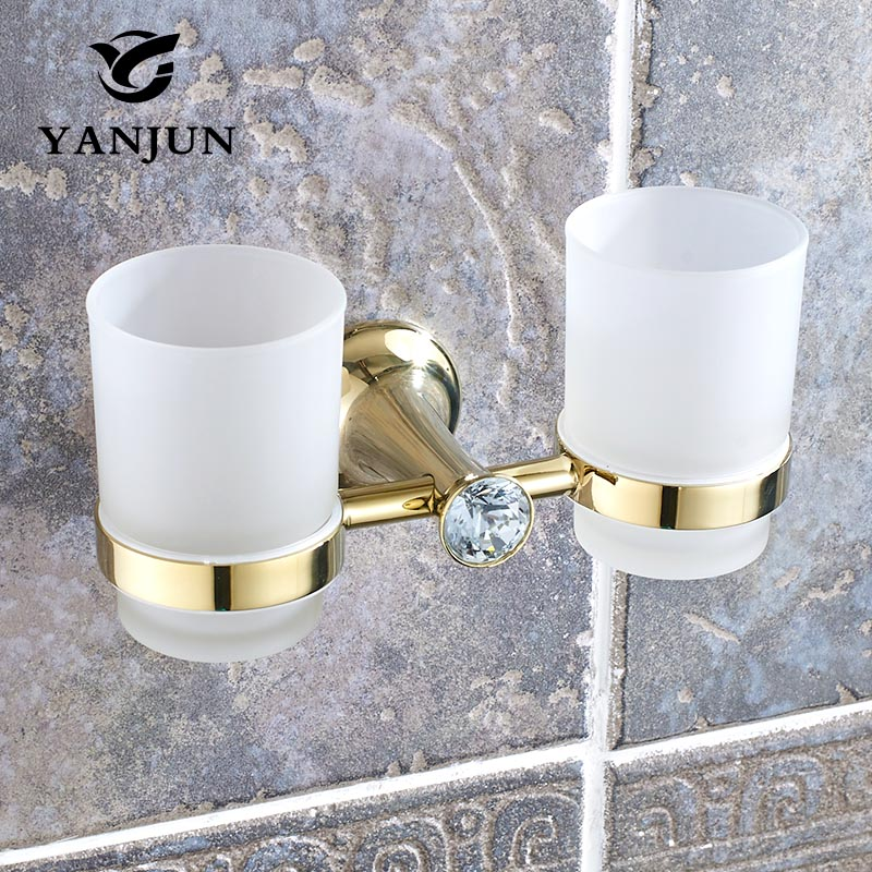 Yanjun Double Crystal Cup Tumbler Holder Zinc Alloy Wall Mounted Toothbrush Cup Holder  Bathroom Accessories Cup Holder  YJ-8265 stainless steel double tumbler toothbrush holder cup bracket set wall mounted