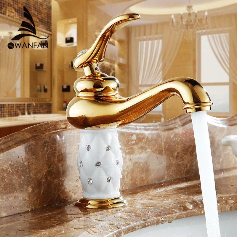 Bacia torneiras de bronze com diamante torneira do banheiro misturador ouro único punho quente & fria lavatório 7301 k