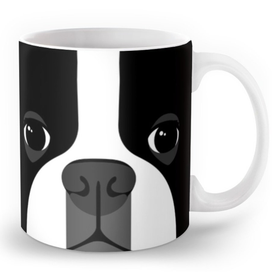 Novelty cute boston terrier coffee mug boston terrier dog face ceramic coffee milk cups mugs cool puppy pet dogs gifts kids 11oz in mugs from home garden
