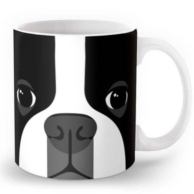 novelty cute boston terrier coffee mug boston terrier dog face