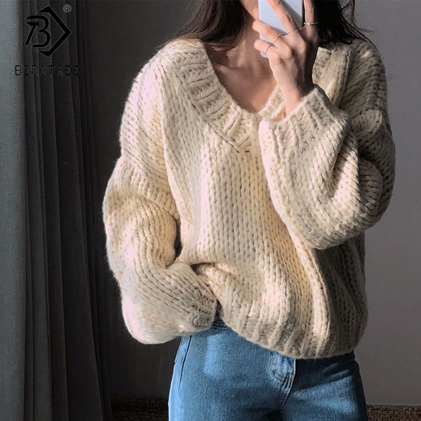 Korean Style Fashion Ladies Thick Full Sleeve Women Knitting Sweater Solid V-Neck Pullover Loose Sweater Hot Sale S89026Q