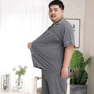 Image 3 - Plus Kích Thước 5XL Sang Trọng Striated 100% Cotton Pyjama Bộ Nam Đơn Giản Áo Tay Ngắn Quần Ngủ Khoác Nam Pyjamas