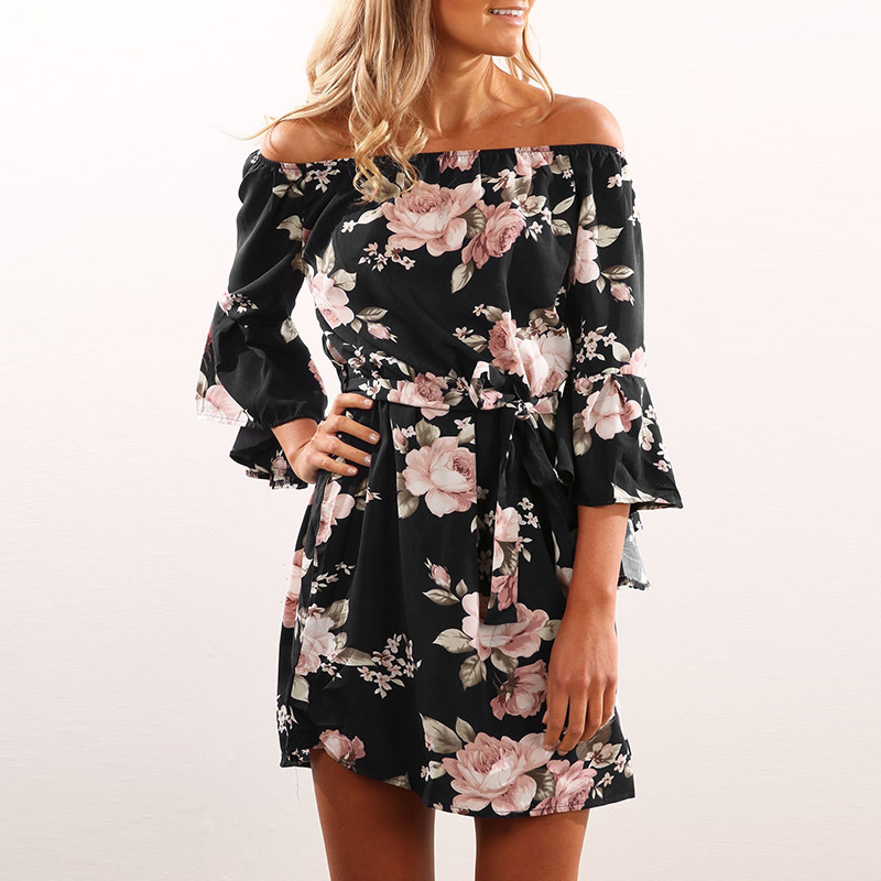 Lossky Women Floral Print Dress Sexy Off Shoulder Sashes Mini Boho Beach Dresses Flare Sleeve XS 3XL Plus Large Size Short Dress